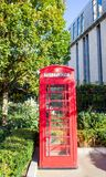 London, United Kingdom - red telephone box in London. Copy space stock photo