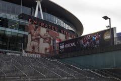 Arsenal Emirates Football Stadium. London, United Kingdom - 3 September 2017: View of the front entrance of the Arsenal Emirates Football Stadium royalty free stock image