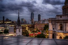 London, the United Kingdom: St. Pauls Cathedral and aerial view of the city Stock Photos