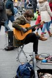 Festivities to celebrate Chinese New Year In London for year of. London, United Kingdom, 18th Febuary 2018:- A street perfomer perfoming as part of the Stock Photos