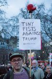 London, United Kingdon - Febuary 20th, 2017: Protesters gather in Parliment Square to protest the invitation to United States Pre. Sident Donald Trump on a state royalty free stock photography