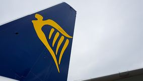 Ryanair winglet and tale showing the companys name and logo at Luton Airport United Kindom royalty free stock images