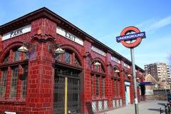 London-UntertageU-Bahnstation Stockfotografie