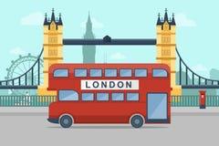 London. Urban Landscape. Vector illustration of London with famous landmarks. Flat Design Style Stock Photos