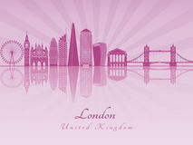London V2 skyline in purple radiant orchid Royalty Free Stock Images