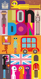 London. Vector illustration. Art composition, collage with inscription Royalty Free Stock Photography