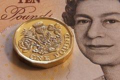 LONDON, VEREINIGTES KÖNIGREICH, JAHR 2017 - ein britisches Pfund, neuer Typ 2017 Stockbild