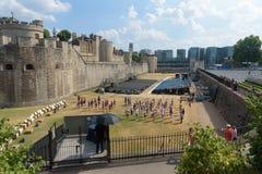 LONDON, VEREINIGTES KÖNIGREICH - 7. JULI 2018 - Blaskapelle practicin stockbild