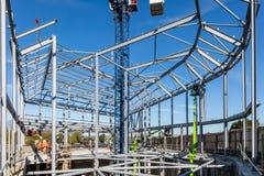 LONDON, VEREINIGTES KÖNIGREICH - 4. MAI 2016 - Stahlrahmen des Neubaus im Bau - HDR lizenzfreie stockfotografie