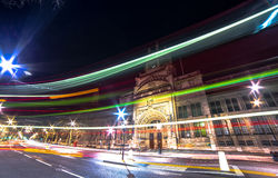 London. Victoria & Albert Museum City of London speed bus by night Stock Photo