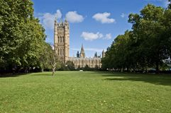 London Victoria Gardens. A view of Victoria gardens and Tower in London, England Royalty Free Stock Photos