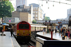 London Victoria station Belmond British Pullman. Belmond British Pullman special train just arrived at end of excursion at London Victoria railway station. A Royalty Free Stock Photo