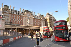 London Victoria Station London red buses Stock Images