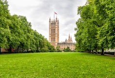 London - Victoria Tower garden, Palace of Westminster. London - Victoria Tower garden, Palace of Westminster, United Kingdom royalty free stock images