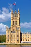 London Victoria Tower. London UK - Palace of Westminster (Houses of Parliament) with Victoria tower. UNESCO World Heritage Site stock photo