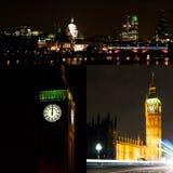 London vid nattcollage Arkivfoton