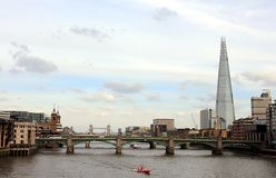 Blackfriars Bridge, Tower Bridge, and the Shard in London stock photo