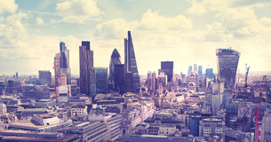 London. View on business modern district. Royalty Free Stock Photo