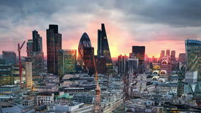 London. View on business modern district stock video footage