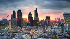 London. View on business modern district stock footage