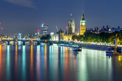 London View. London City at night, view on Big Ben from Embankment Bridge Royalty Free Stock Photography