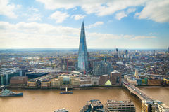 London view includes River Thames, London bridge and Shard. Stock Photos