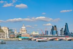 London, view over river on St. Paul`s cathedral and Blackfriars. London, view over river Thames on St. Paul`s cathedral and Blackfriars bridge with London Royalty Free Stock Photos