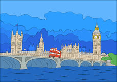 London view. Parliament in London drawing landscape in cartoon style Royalty Free Stock Photography