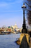 London view from South Bank. View of St. Paul's Cathedral from South Bank of Thames river in London royalty free stock photos