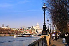 London view from South Bank. View of St. Paul's Cathedral from South Bank of Thames river in London stock image