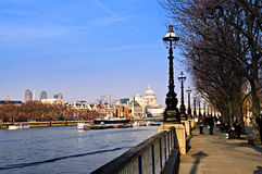 London view from South Bank. View of St. Paul's Cathedral from South Bank of Thames river in London stock photography