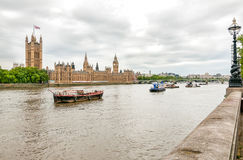London - view of Thames river, Big Ben clock tower, Houses of Parliament. Royalty Free Stock Photography