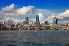 London view from the Thames river, City of London and St. Paul's cathedral Stock Photo