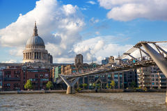 London view from the Thames river, City of London and St. Paul's cathedral Stock Images
