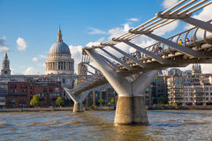 London view from the Thames river, City of London and St. Paul's cathedral Royalty Free Stock Photos