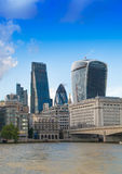 London view from the Thames river, City of London and St. Paul's cathedral Royalty Free Stock Photo