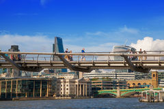 London view from the Thames river and millennium bridge Royalty Free Stock Photos