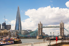 London view. Tower bridge and Shard of glass view from the River Thames Royalty Free Stock Image