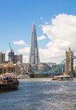 London view. Tower bridge and Shard of glass view from the River Thames Stock Images
