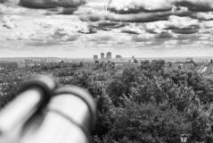 Looking across London to Canary Wharf from Ally Pally stock images