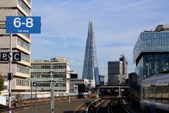 London Waterloo East. Look on the Shard from London Waterloo East train station. Clear sky, modern buildings Stock Image