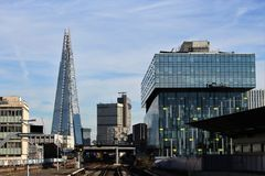 London Waterloo East. Look on the Shard from London Waterloo East train station. Clear sky, modern buildings Stock Photography