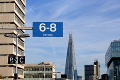 London Waterloo East. Look on the Shard from London Waterloo East train station. Clear sky, modern buildings Royalty Free Stock Photos