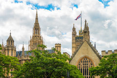 London - partly view on Westminster Abbey. Image was taken on August 2013 Royalty Free Stock Photos