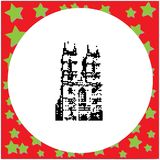 London Westminster Abbey St Margaret Church in England black. 8-bit  vector illustration isolated on round white background with stars Royalty Free Stock Photo
