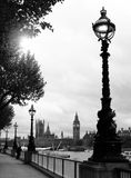 London westminster and big ben. View from the south bank of river thames on the westminster palace and the world famous big ben in black and white stock images