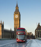 London bus on Westminster bridge Stock Image