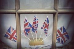 London window decorated with Union Jacks. London window decorated with Union Jack Flags stock photo