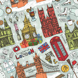London winter landmarks seamless pattern.Colored Doodles stock illustration