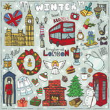London winter landmarks set.Colored christmas Doodles Royalty Free Stock Photo